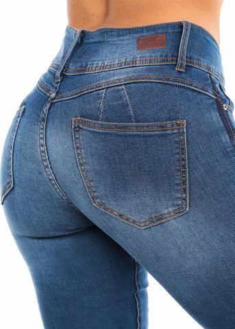 Image of Blue Wash Butt Lifting Skinny Jeans