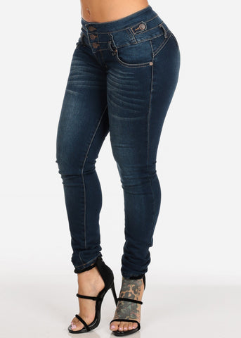 Med Wash Levanta Cola Butt Lifting High Rise Skinny Denim Jeans