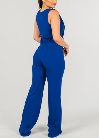Women's Junior Ladies Hot Sexy Going Out Night Out Clubwear Party Disco Trendy Sleeveless Keyhole Detail Wide Legged Royal Blue Jumper Jumpsuit With Belt