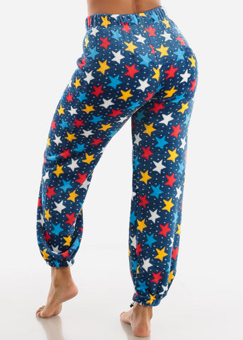 Image of Dark Blue Printed Plush Pajama Pants