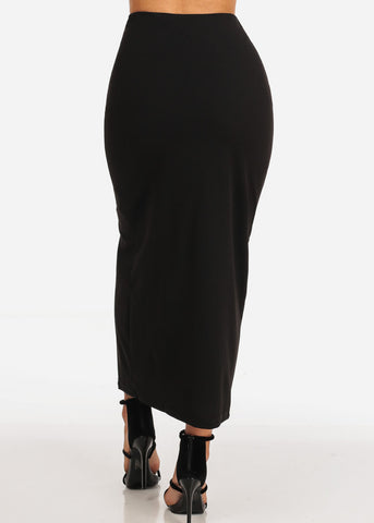 Women's Junior Ladies Sexy Going Out Super Cute Dressy Gold Button Detail Black Maxi Long Skirt