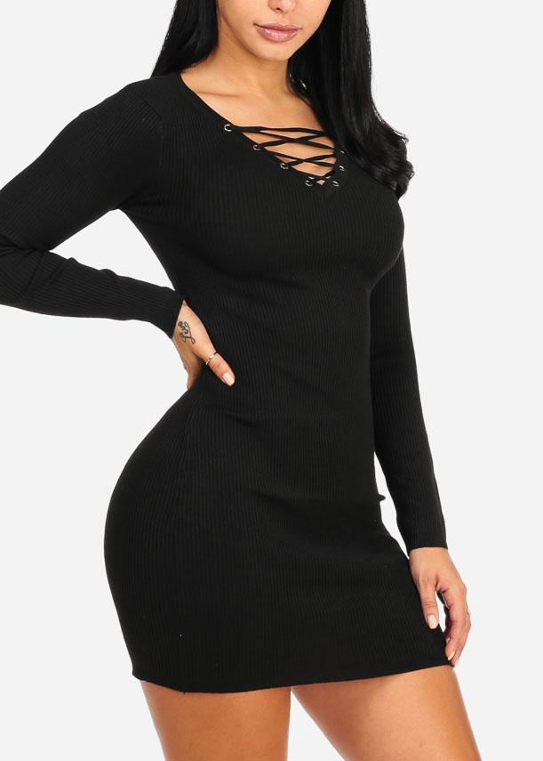 Black Lace Up Mini Knitted Dress