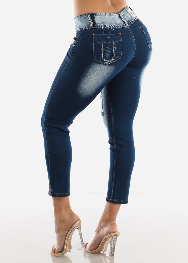 Dark Wash Butt Lifting Torn Skinny Ankle Jeans