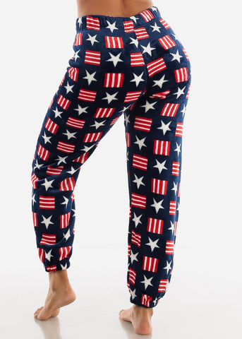 Navy Printed Plush Pajama Pants