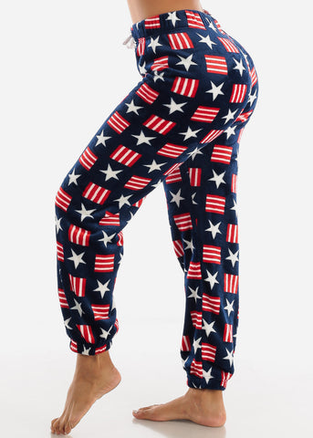 Image of Navy Printed Plush Pajama Pants