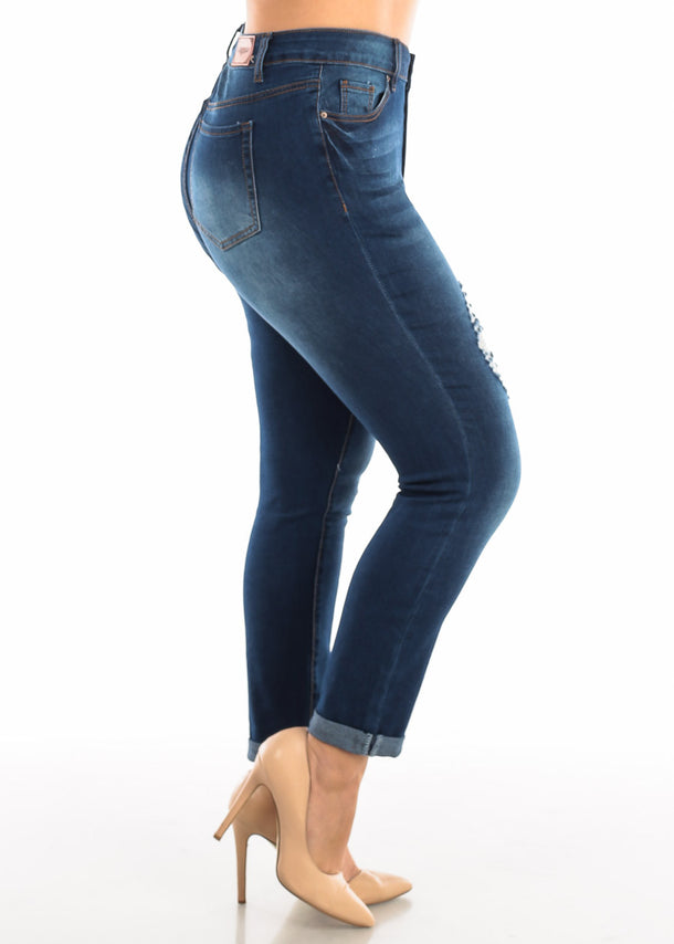 Plus Size Roll Cuff Dark Wash Torn Jeans