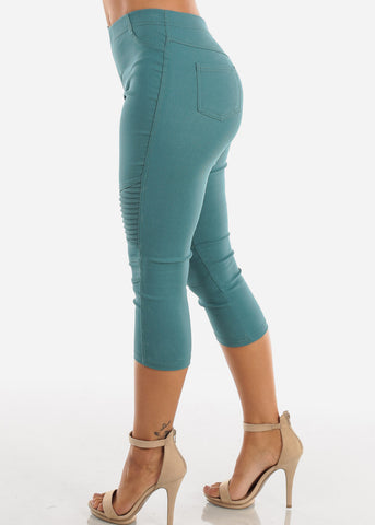 Super Stretchy High  Rise Moto Style Teal Jegging Capris For Women Ladies Junior On Sale 2019 New Miami Style Trends
