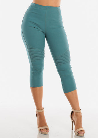 Image of Super Stretchy High  Rise Moto Style Teal Jegging Capris For Women Ladies Junior On Sale 2019 New Miami Style Trends