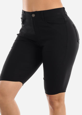 Image of High Waisted Black Bermuda Shorts