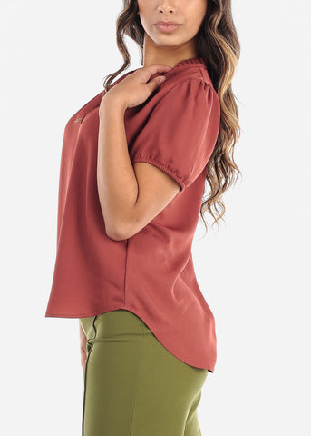 Ruffled Neckline Brick V-Neck Blouse