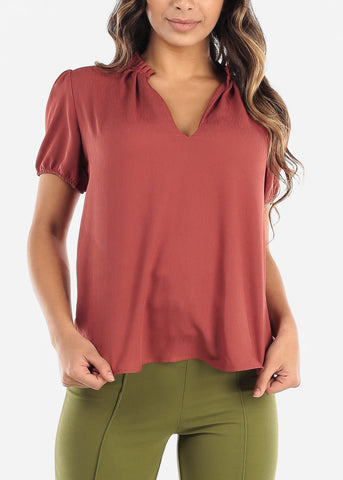 Image of Ruffled Neckline Brick V-Neck Blouse