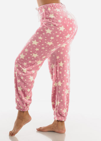 Image of Mauve Printed Plush Pajama Pants