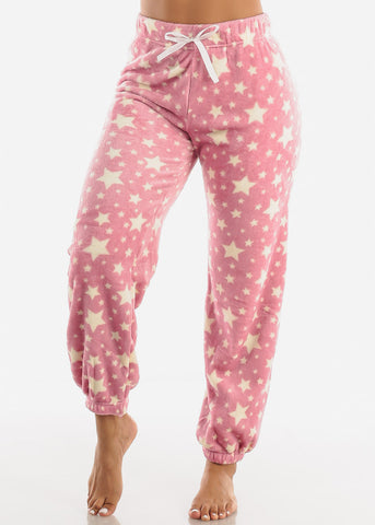 Mauve Printed Plush Pajama Pants