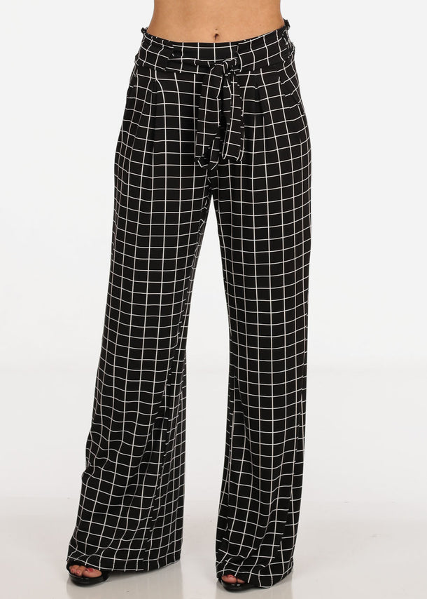 Women's Junior Ladies Sexy Going Out High Waisted Elastic Waist Black Plaid Print Palazzo Wide Legged Pants