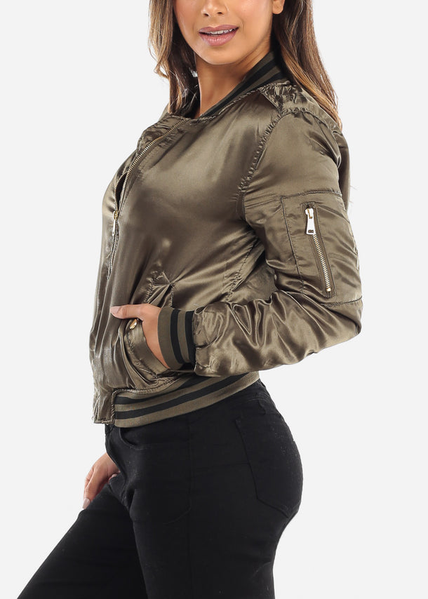 Satin Olive Bomber Jacket