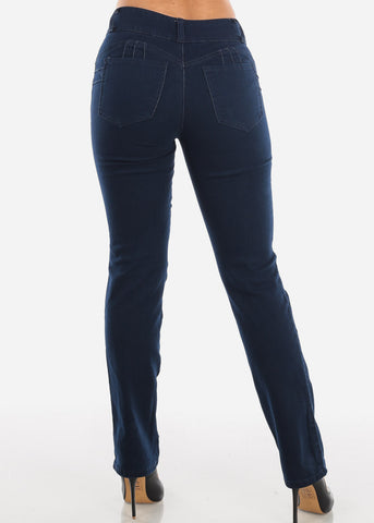Image of Mid Rise Dark Navy Butt Lifting Bootcut Jeans