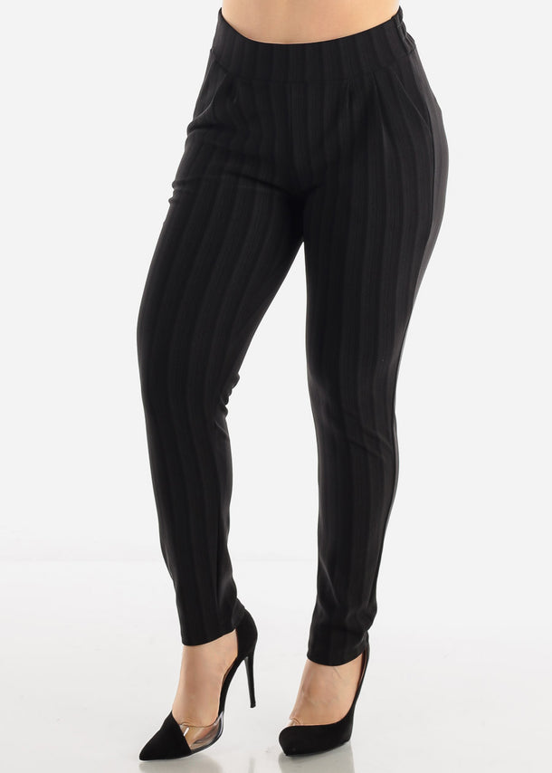 Solid Black Stripe Dress Pants