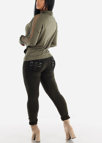 Image of Levanta Cola Dark Olive Skinny Jeans