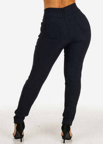 Image of Fur Lined Navy Skinny Pants