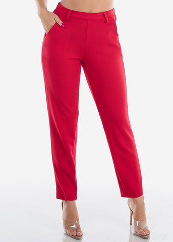 High Waisted Pull On Cute Solid Red Straight Leg Dressy Office Career Business Wear Pants For Women Ladies Junior