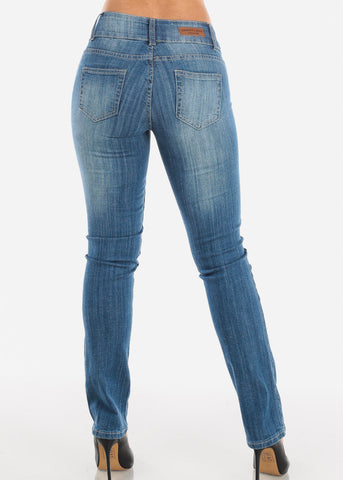 Light Wash Ripped Straight Leg Jeans