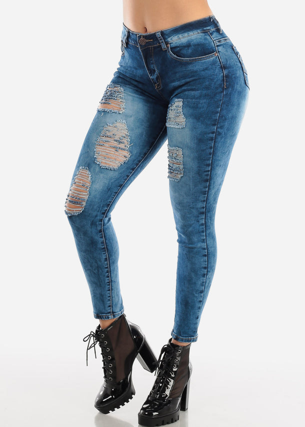 Dark Wash High Rise Ripped Jeans