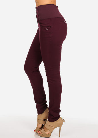 Burgundy 4-Pocket Skinny Jeans