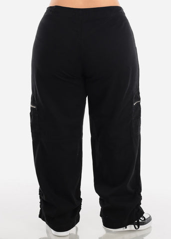 Image of Plus Size Drawstring Leg Black Cargo Pants
