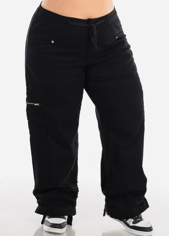 Plus Size Drawstring Leg Black Cargo Pants 9206XBLK