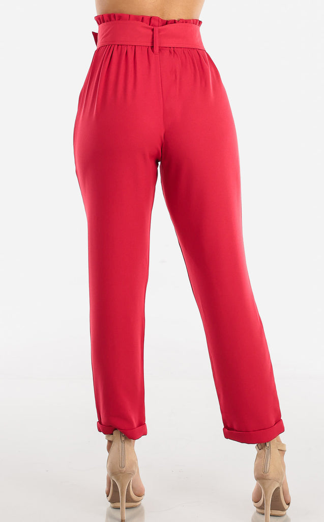 Red High Waisted Pants With Belt