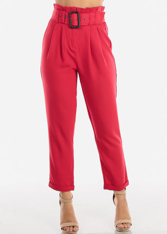 Image of Red High Waisted Pants With Belt