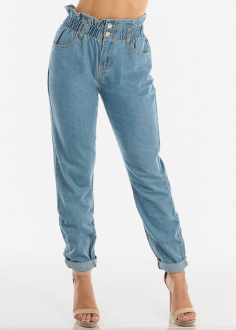 Super High Rise Light Wash Mom Jeans