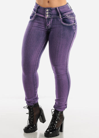 Purple Levanta Cola Skinny Jeans