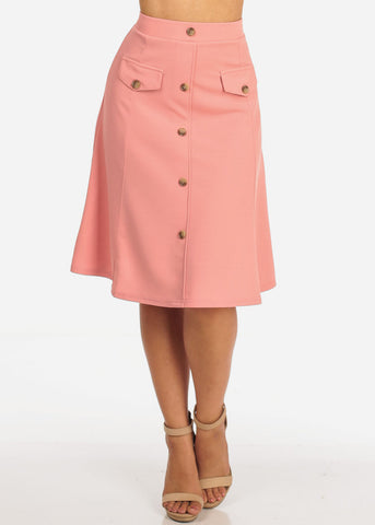 Women's Junior Ladies Dressy Trendy Loose Fit Flare Button Front Button Up Mauve Pink Skirt With Front Faux Pockets