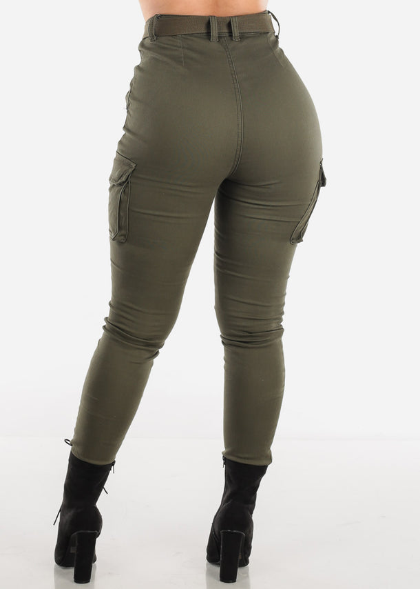 Plus Size High Rise Olive Cargo Pants
