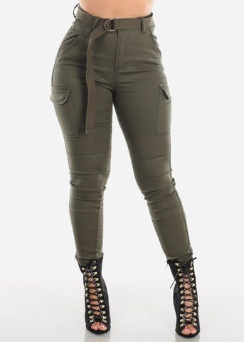 Image of Plus Size High Rise Olive Cargo Pants