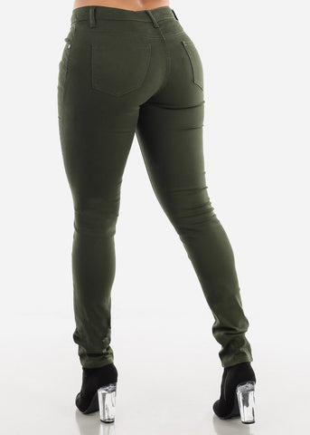 Olive Red Classic Mid Rise Pants
