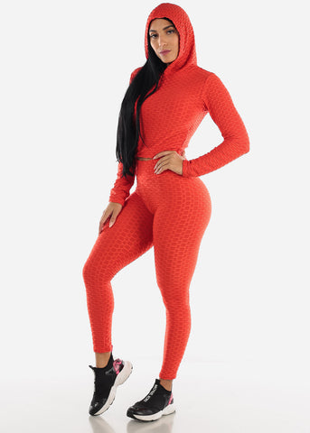 Anti Cellulite Red Hoodie & Leggings  (2 PCE SET)