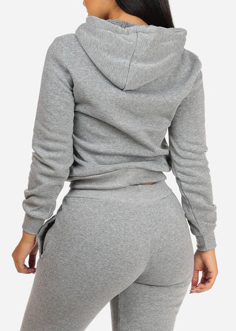 Image of Drawstring Hem Grey Sweater W Hood
