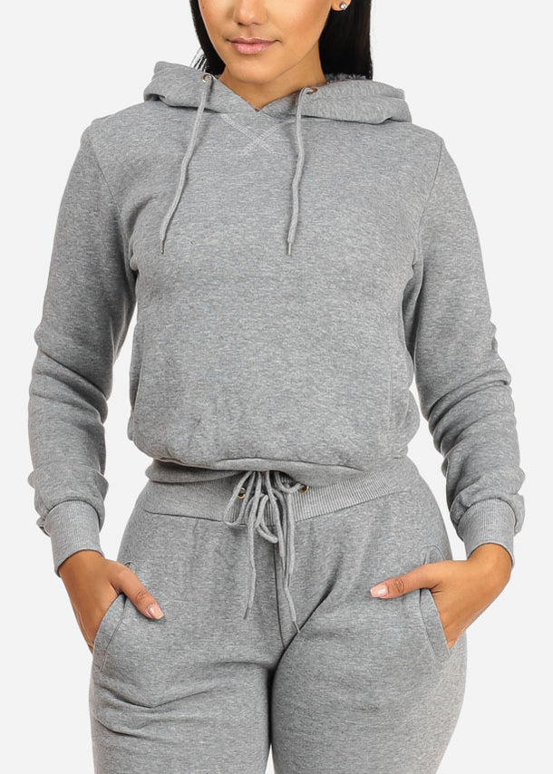 Drawstring Hem Grey Sweater W Hood