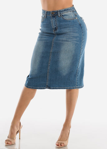 Image of Med Wash Denim Pencil Skirt