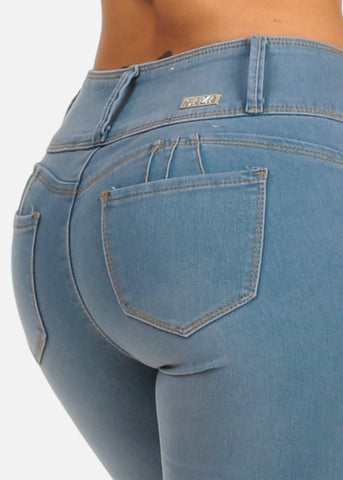 Image of Mid Rise Light Wash Sexy Butt Lifting Push Up Skinny Jeans
