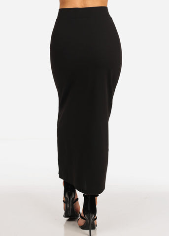 Image of Women's Junior Ladies High Rise Dressy Black Maxi Skirt With Button Up Hem Slit