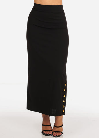 Women's Junior Ladies High Rise Dressy Black Maxi Skirt With Button Up Hem Slit