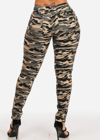 Image of Camouflage Print Skinny Pants