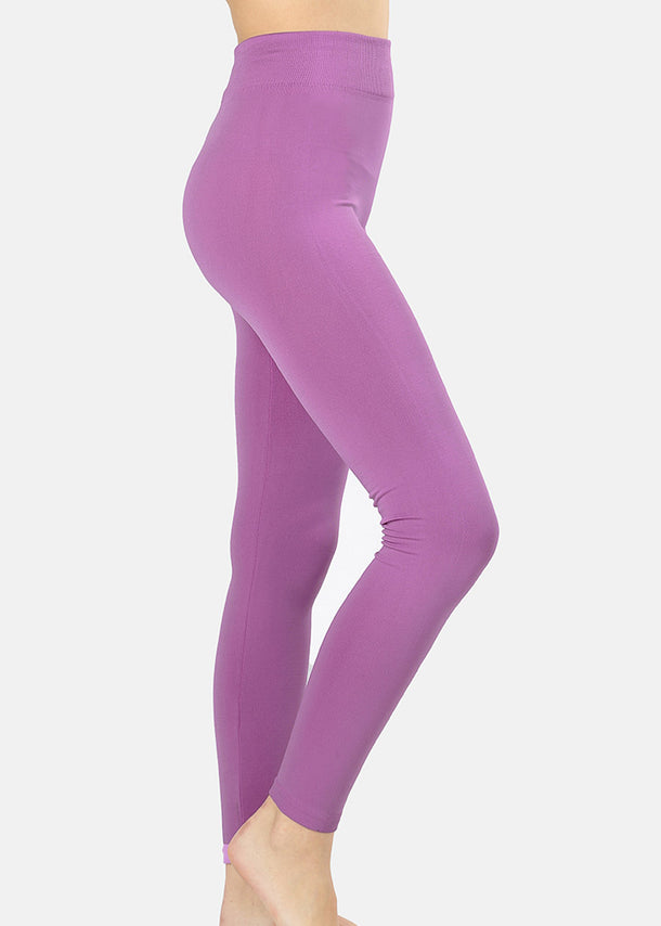 High Rise Fleece Lilac Leggings