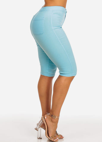 High Waisted Light Blue Capri