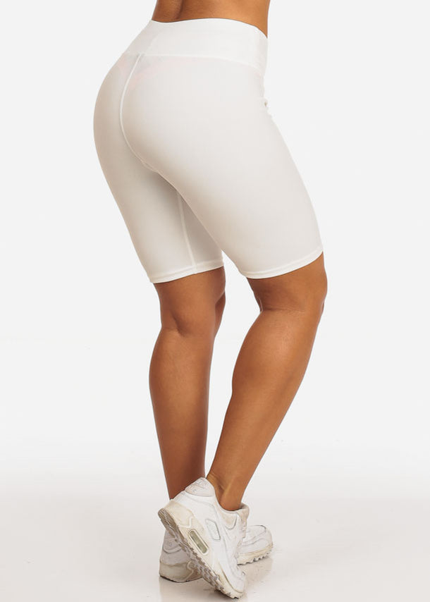 White Activewear Bermuda Shorts