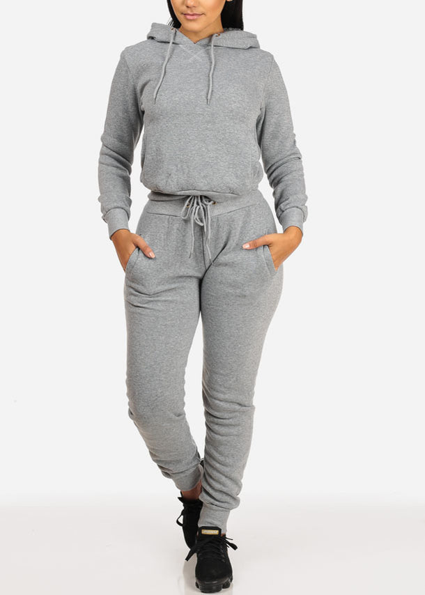 High Waisted Drawstring Jogger Pants (Grey)
