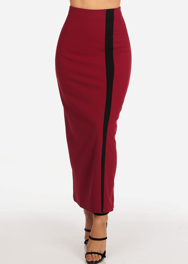 Women's Junior Ladies Stylish Long Stripe Detail Red Maxi Dressy Skirt